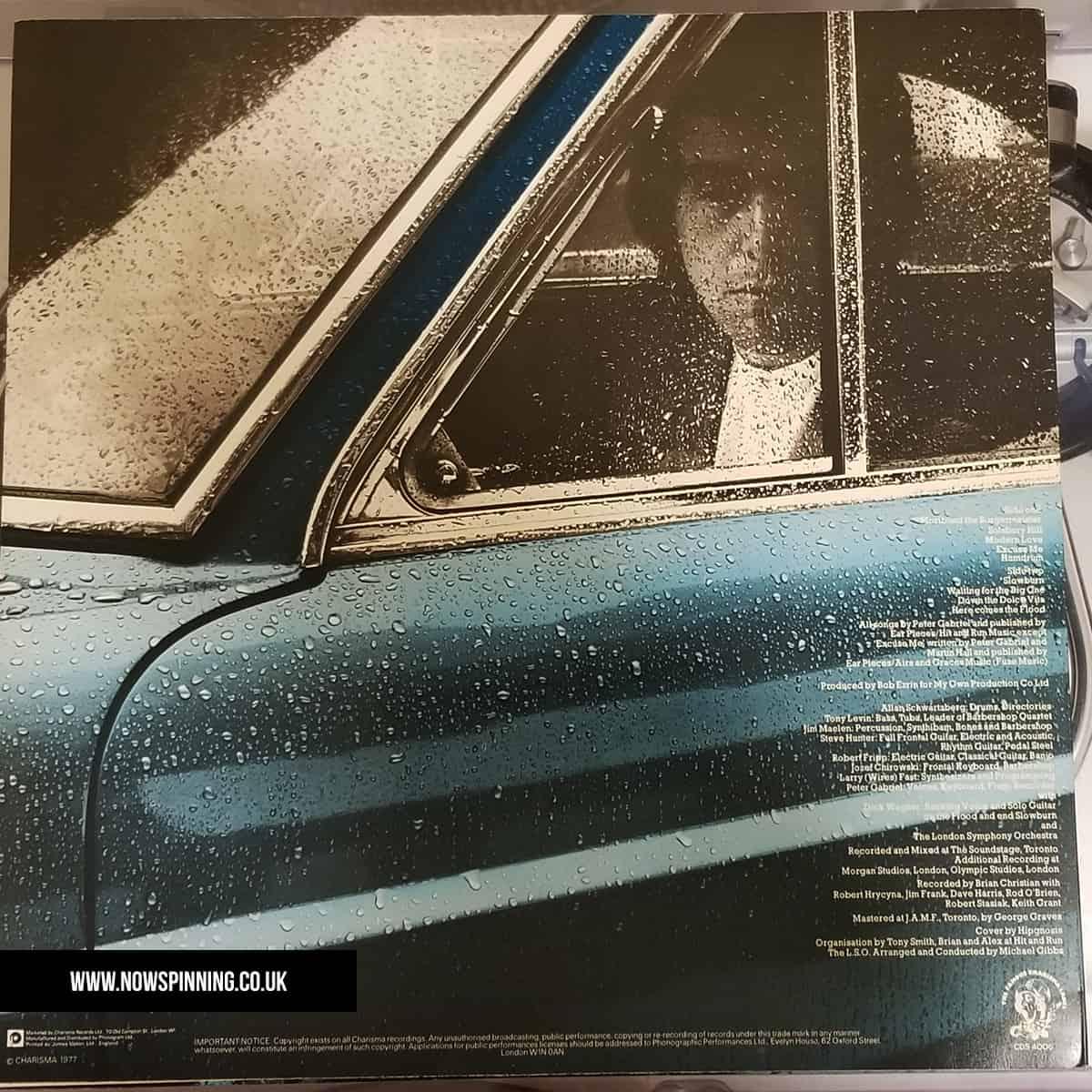 Peter Gabriel 1st album back cover