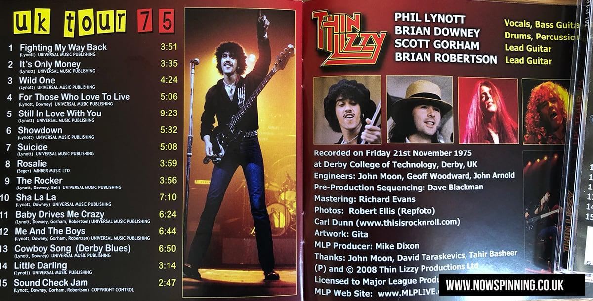 Thin Lizzy UK Tour 75 tracklist