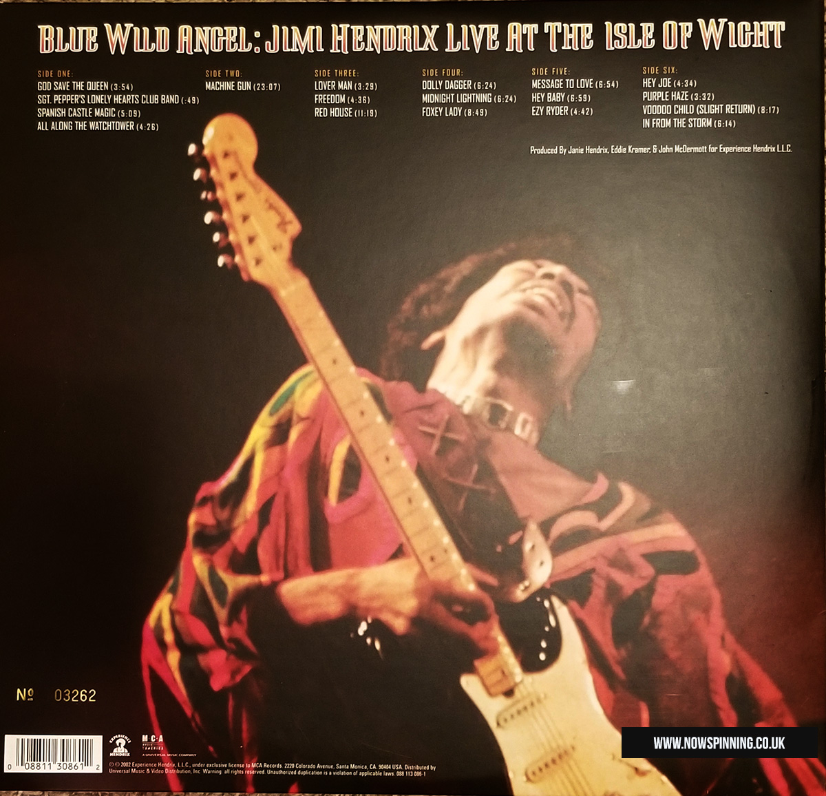 Jimi Hendrix Isle of White Festival Vinyl back cover