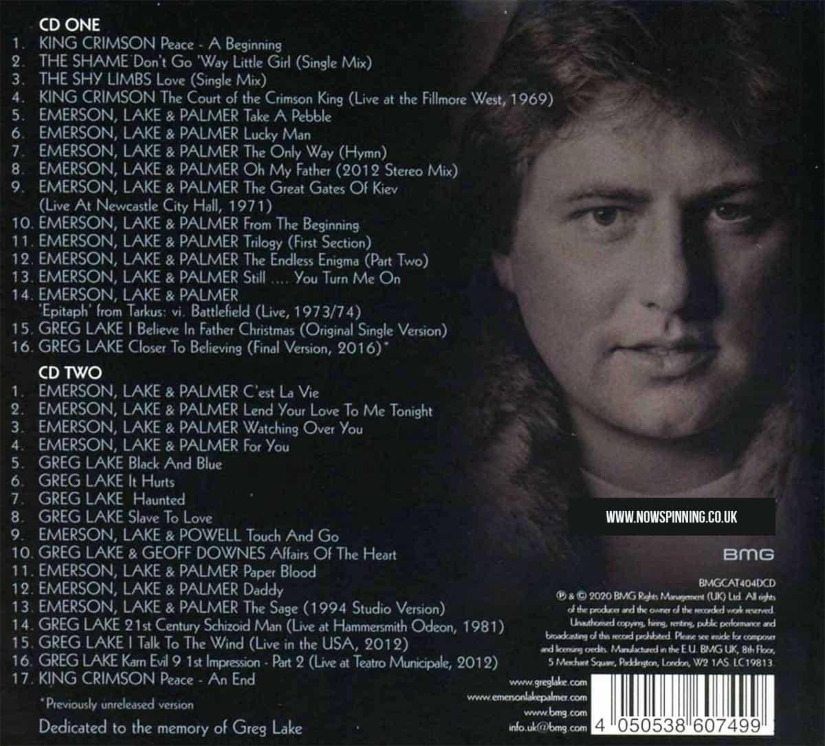 Greg Lake 2CD Anthology track listing