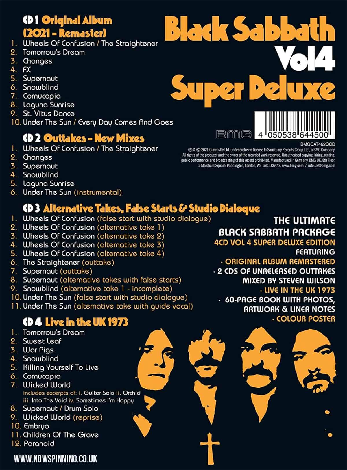 Black Sabbath Vol 4 Deluxe Box Set Track listing