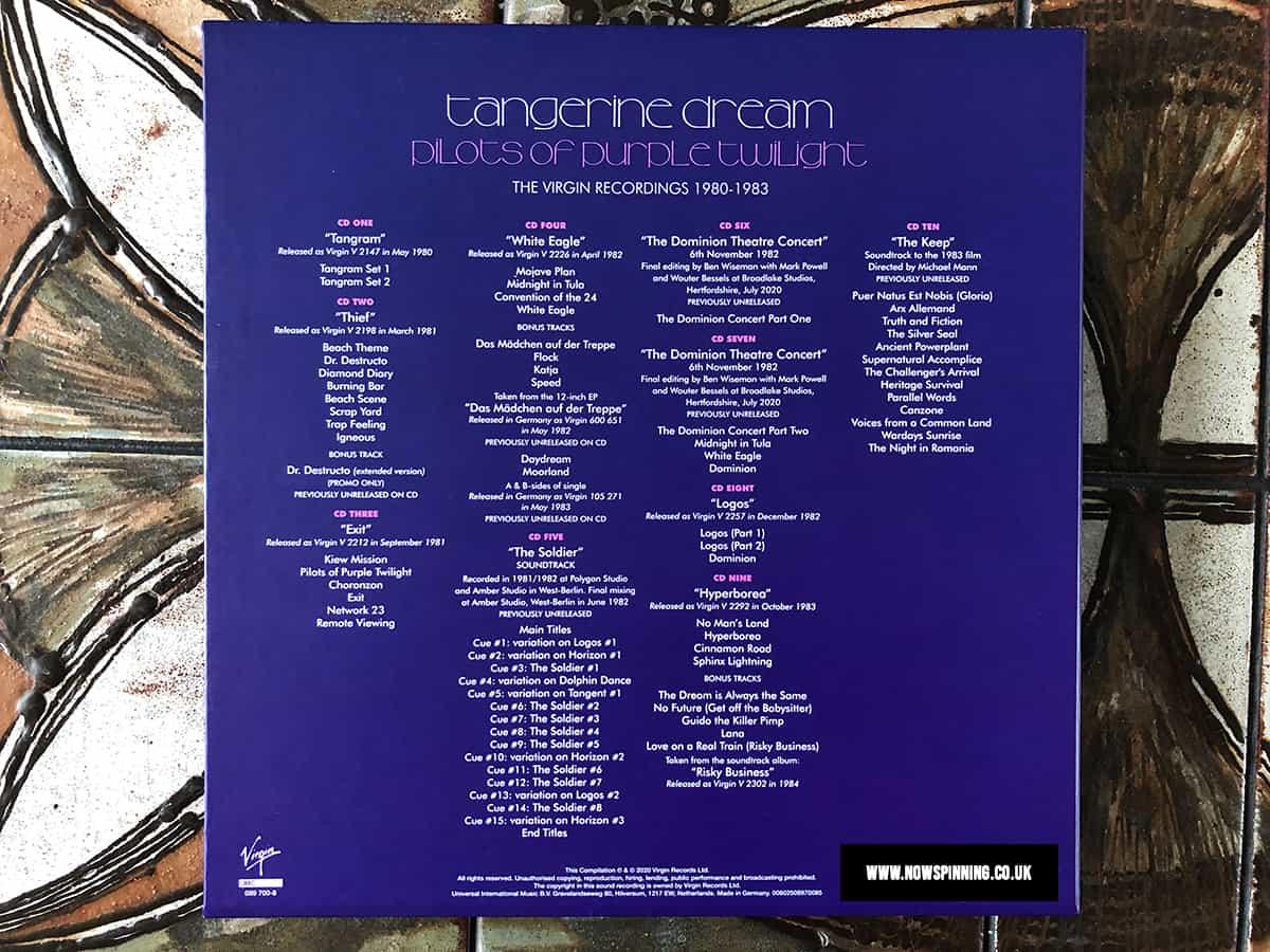 Pilots Of Purple Twilight: The Virgin Recordings Box Set Tracklisting