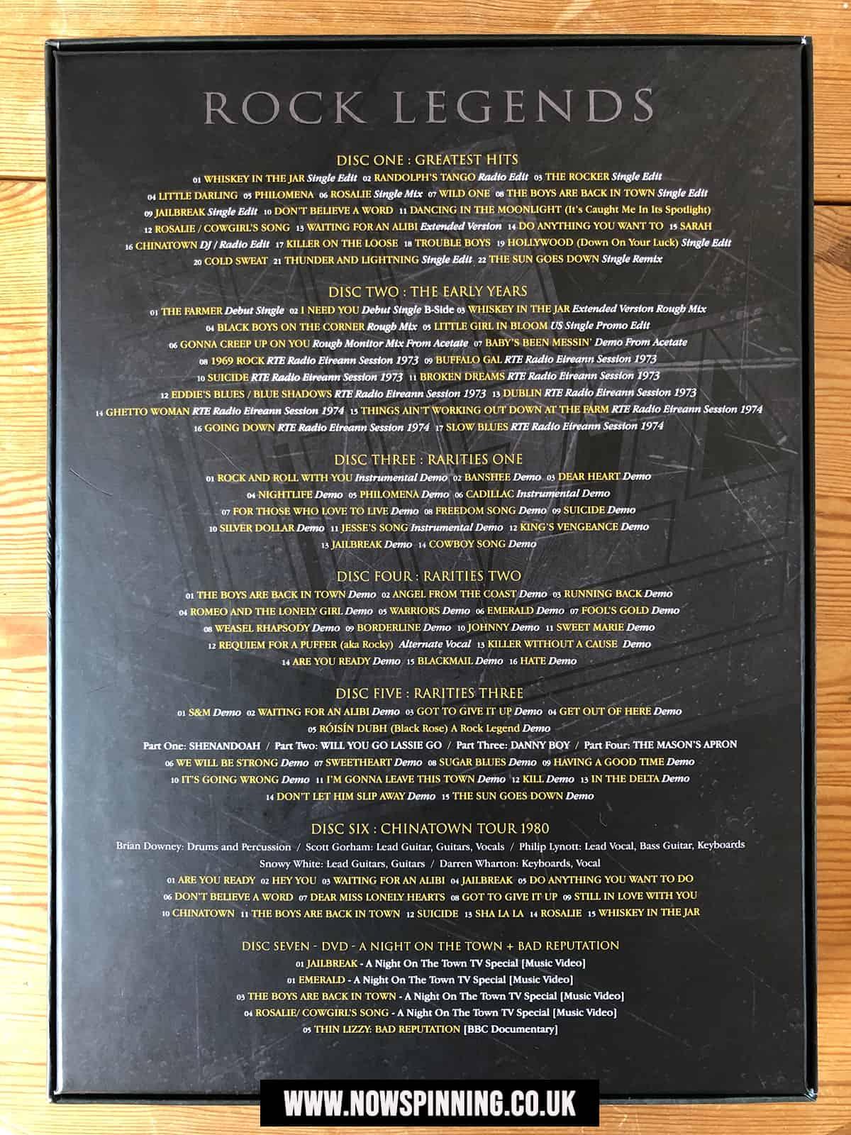 Thin Lizzy Rock Legends Box Set Track Listing