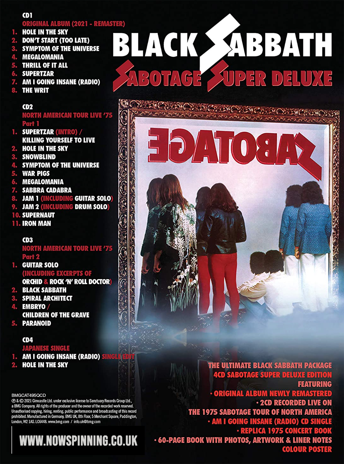 Black Sabbath Sabotage Deluxe Box Set Track Listing and review